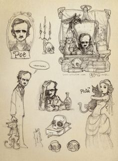 Edgar Allan Poe. Bocetos para iPoe collection
