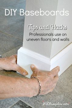DIY baseboard tutorial with printable cheat sheet of cuts and terms. Shows how to install your own baseboards with tips and tricks the pros use. http://H2OBungalow.com