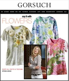 Gorsuch is saying it with FLOWERS!  Leopard Rose short sleeve crew, Floral Garden long sleeve v-neck + Mumsy Pink short sleeve crew.