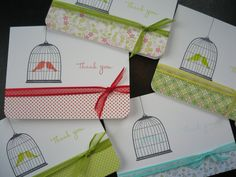 Thank You Cards Set of 5 Thank You Notes Birdcage by apaperaffaire, $8.00