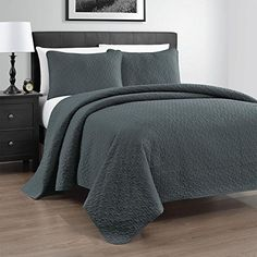 Zaria 3Piece Quilted Coverlet Set With Stitched Pattern FullQueen Grey ** You can get more details by clicking on the image from Amazon.com