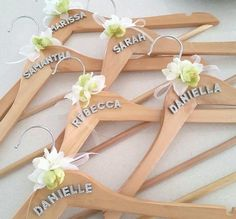 X Personalised Wooden Bridal Hangers BridesmaidWedding Dress - Diy vinyl wedding hangers