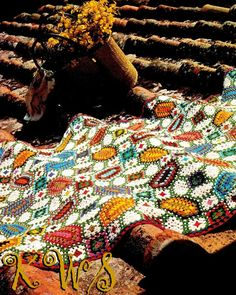 Vintage jaren 70 mozaïek Afghan PDF patroon door KinzieWoolShop