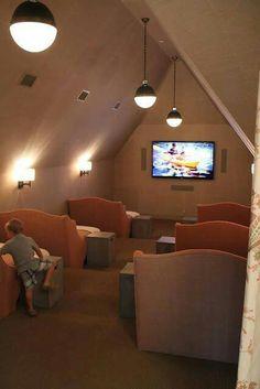 Fantastic tv room for kids, doubling as sleepover room