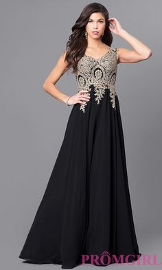 Image of long v-neck prom dress with beaded lace applique. Detail Image 2