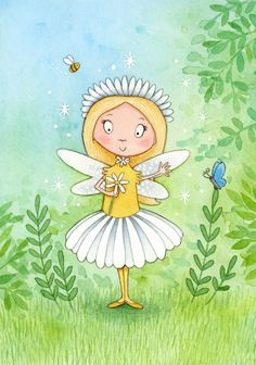 Daisy Fairy - whimsical watercolour children's illustration by Emma Allen Watercolor Illustration Children, Children's Book Illustration, Illustration Styles, Art Drawings For Kids, Watercolor And Ink, Watercolour Painting, Kid Character, Dog Paintings, Fairy Art