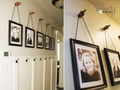 Shanty 2 Chic author White Gainer created this pretty array of hanging chain frames to display her favorite photos of her kids. http://www.ivillage.com/family-photo-walls/7-a-535138