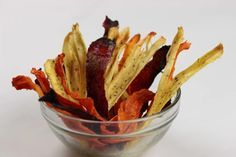 Parsnip, Carrot, and Beet Root chips. Oven baked at 150