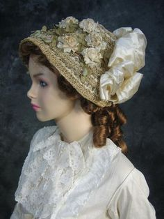 Bustle Era    Sweet Straw Bonnet  with Flowers and Silk Bow    Mid~Late Bustle Period
