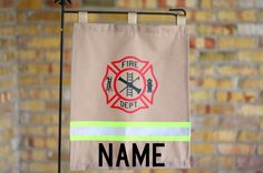 FIREFIGHTER Yard / Garden Flag With Maltese Cross and Personalized Name Firefighter Bar, Firefighter Wedding, Volunteer Firefighter, Fire Dept, Fire Department, Fireman Party, Maltese Cross, Garden Flags, Yard Art