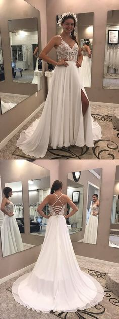 modest spaghetti straps wedding dresses with lace up, fashion simple wedding gowns with appliques.#beachwedding #wedding #weddingdress