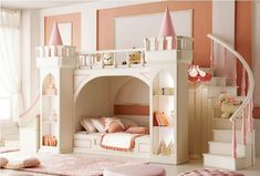 Amazing Castle Bed With Stair And Slide Also Shelves : Beautiful Castle Bed For Your Kids Bedroom