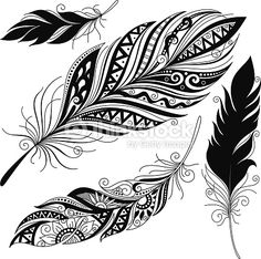 Vector Peerless Decorative Feather, Tribal design, TattooVector Peerless Decorative Feather, Tribal design, Tattoo