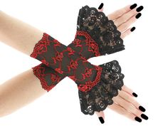 Red black short fingerless gloves wrist warmers by FashionForWomen
