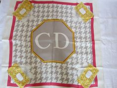 Vintage Christian Dior Silk Scarf Large Perfume Bottles by HistoiredeMode