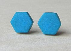 Tiny Hexagon Teal Matte Studs Hex Matte Earrings by ColorfulClay