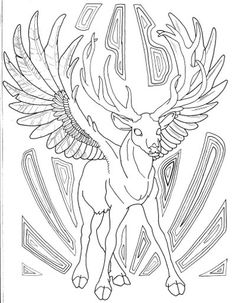 Winged Buck Coloring Page For Adults
