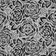 Cloud+Dancer/Black+Floral+Novelty+Guipure+Lace+w/+Finished+Edges