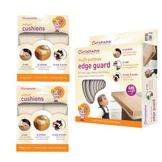 Protect your child from potential bumps and bruises with the Clevamama Baby Home Safety Edge Guard & Corner Cushions Set. The multi-purpose edge guard comes in a roll, approximately 12ft long, making it up to you what length you need for the edges in your home. The cushioned edges will absorb the impact and stay in place with the professional double sided adhesive tape. The cushions can be quickly and easily removed when no longer needed. Also included are 2 packs of foam corner cushions...