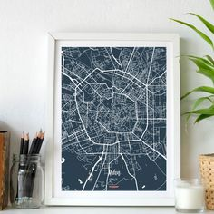 Enjoy Milan with our Street Map. Decorate your home with the city where you were born or your favorite. Map Wall Art, Map Art, Decorating Your Home, Your Favorite, Street, City, Artwork, Prints, Work Of Art