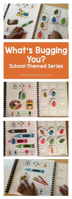 """Our """"What's Bugging You?"""" school supply themed adapted book series offers great receptive reading work, vocab terms, & color and function identification. Plus funny faces & tons of laughs from students! From theautismhelper.com"""