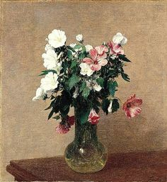 White and Pink Mallows in a Vase by Henri Fantin-Latour