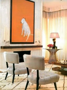 The interior design with painting of English Bull Terrier #Bull #Terrier #Dog #Dogs #Pets #Animal #FunnyDog #Cute #Puppy #Art #Design
