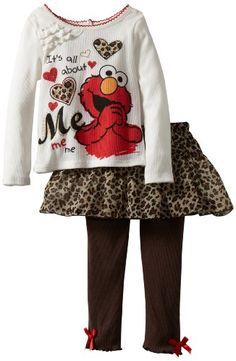 Amazon.com: Sesame Street Girls 2-6X 2 Piece Elmo Its All About Me Skegging Set, Light Beige, 4T: Clothing