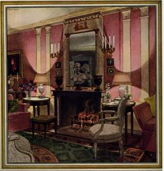 Painting of Eleanor Brown McMillen's living room in its pink phase by the incredibly talented Pierre Brissaud. Published in HOUSE & GARDEN'S  COMPLETE GUIDE TO INTERIOR DECORATION, 1947 edition