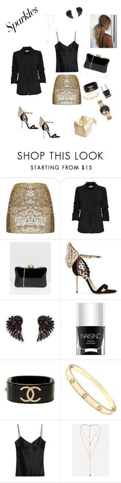 """Party outfit 1"" by mitskevicht ❤ liked on Polyvore featuring Lulu Guinness, Sophia Webster, Henri Bendel, Nails Inc., Chanel, Cartier, Galvan, Bebe and Michael Kors"