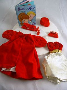 Vintage Barbie Doll Outfit Red Flare #939 Mum made an exact copy of this outfit but in turquoise velvet. She made the bodice and skirt separately and made some trousers which matched the coat lining- very daring!  I always loved this outfit