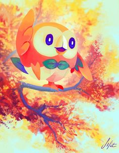 rowlet fan art from deviantart 💚 Love the colors in this pokemon fan art!