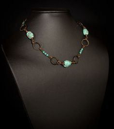 Turquoise and Copper Necklace by HutaPearlJewelry on Etsy