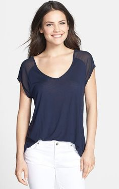 Navy Blue V-Neck Tee and White Skinny Jeans