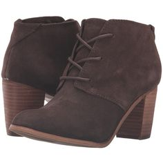 TOMS Lunata Lace-Up Bootie (Chocolate Brown Suede) Women's Lace-up... ($119) ❤ liked on Polyvore featuring shoes, boots, ankle booties, short suede boots, lace up boots, faux suede boots, suede bootie and vintage lace up boots