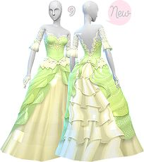 ☾☆ Welcome to Planet Prisma ☆☾ Disney Princess Dresses, Disney Dresses, Sims 4 Wedding Dress, Tiana Dress, Sims Medieval, The Sims 4 Packs, Sims 4 Teen, Sims 4 Dresses, Sims 4 Gameplay