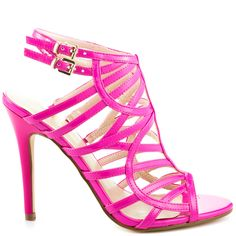 Turn the heat up in the Harlen 2 by Guess.  This glossy sandal features a cage design in a bright pink patent.  Double adjustable straps and a lower 4 1/2 inch heel completes this sexy style.
