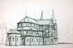 diễn họa nhà thờ đức bà City Drawing, House Drawing, Skeleton Drawings, Art Drawings, Owl Doodle, Anime Group, City Art, Lovers Art, Old Photos