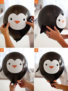 DIY Penguin & Polar Bear Party Balloons DIY Penguin Party Balloons - assembly steps This picture has 2 repetitions. Penguin Birthday, Penguin Party, Penguin Craft, Bear Birthday, Winter Birthday, Diy Birthday, Polar Bear Party, Polar Bears, Penguin Baby Showers