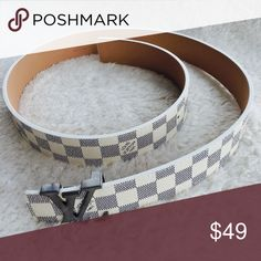 Louis Vuitton Belt White Damier Silver Buckle Louis Vuitton Belt White Damier Style for men Silver Buckle   This size of the belt is mesure from Start Edge to finish and its 120 centimeters / 48 inches total long... Of your waist mesure is less than that it will fit you  NOTE: (Read before ask, ask before Buying) Louis Vuitton Accessories Belts