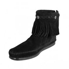 Minnetonka 299 Concho Hi Top Back Zip Boot Black