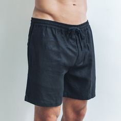 Who doesn't like black? Made from soft organic linen and featuring a drawstring waistband, they're our favourite, breathable and versatile wardrobe staple. Perfect shorts for every occasion.  Black Relaxed fit  Drawstring waistband   Single pocket at the back 100% Linen  Cool wash, hang dry  Model wears size XL / 36 inch waist Linen Shorts, Wardrobe Staples, Label, Organic, Pocket, Cool Stuff, Fit, How To Wear, Collection