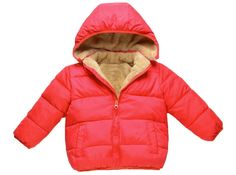 xiaokong Children's Hoodie Fleece Short Pockets Solid Thicken Outdoor Coat Red 100cm. The Size is China Size.Please carefully check the size of the description.