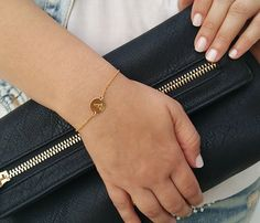 Gold initial bracelet Initial charm bracelet Gold by HLcollection