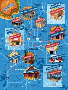 A map to great burgers in Orlando. Orlando Burger Joints - Orlando Magazine - October 2015 - Orlando, FL