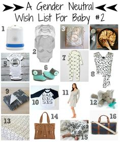 A Gender Neutral Wish List for Baby #2 // great ideas for baby shower and newborn gifts