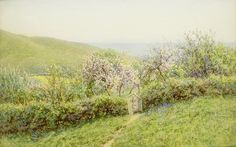 Helen Allingham 'View of the south west corner of the Tennyson Estate, Isle of Wight' 19thC watercolour
