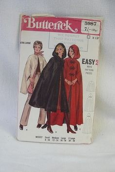 Good Lord, I have this pattern too!  Maybe I should do a cull of my sewing cupboard hahahaha    VINTAGE BUTTERICK 5987 PAPER PATTERN FOR LADIES LONG/SHORT CLOAK