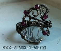 Crystal Blood Drop Ring  Crystal Quartz with by CaitAmberDesigns, $30.00
