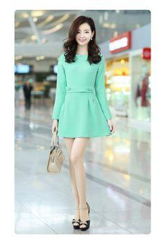 Long Sleeve Dacron Mini Dress A-line YRB 0417